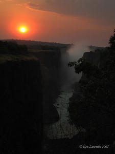 "Victoria Falls at sunset with  ""the smoke that thunders"""