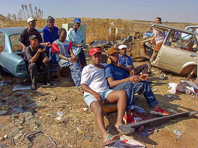 Sibongile (behind the car to the right) and friends. Soweto