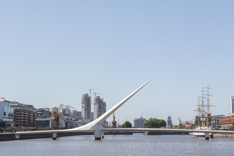 Puente de La Mujer, Woman's Bridge in Puerto Madera, Buenos Aires