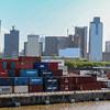 Rio Del La Plata shipping terminal Buenos Aires, Argentina with cityscape