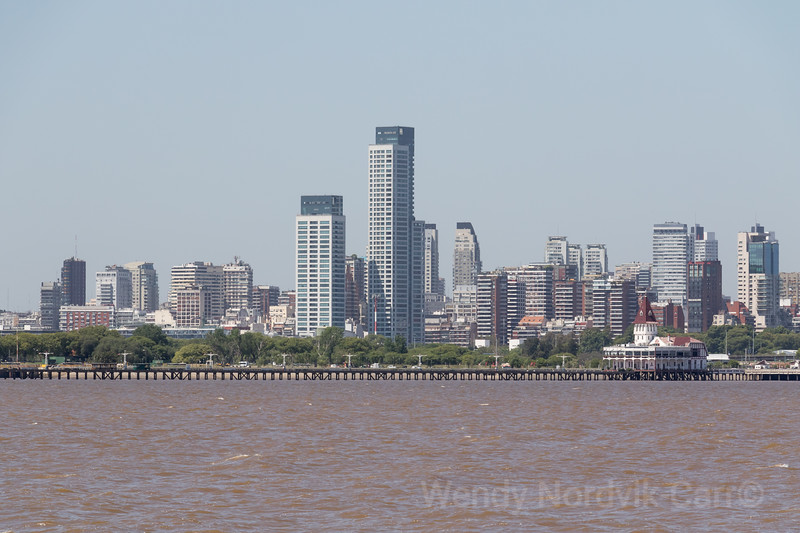 Buenos Aires city skyline from the harbour