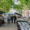 Market in historic Plaza Constitución, also known as Plaza Matriz, Montevideo, Urugay