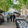 Market in historic Plaza Constitución, also known as Plaza Matriz, Montevideo, Urugay
