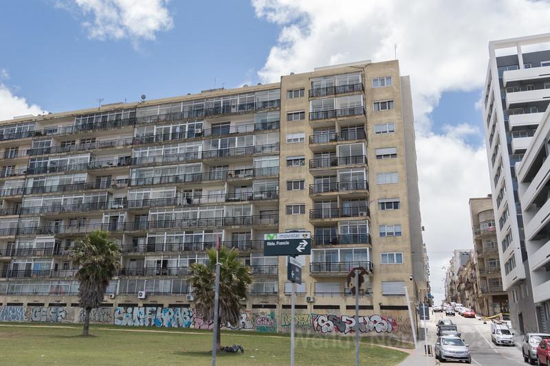 Street view along the beach promenade Montevideo, Uruguay