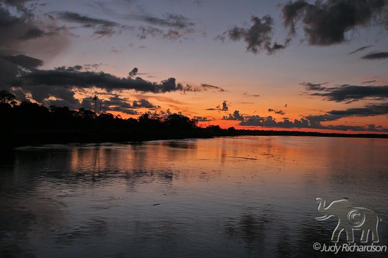 Spectacular sunset on the Amazon