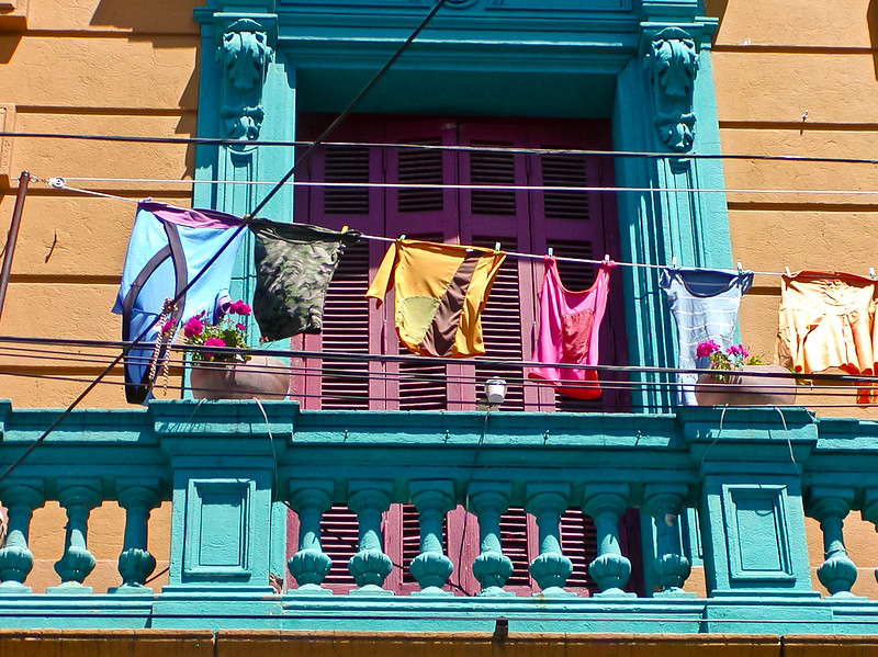 Balcony Laundry. La Boca District, birth of Tango, Buenos Aires, Argentina
