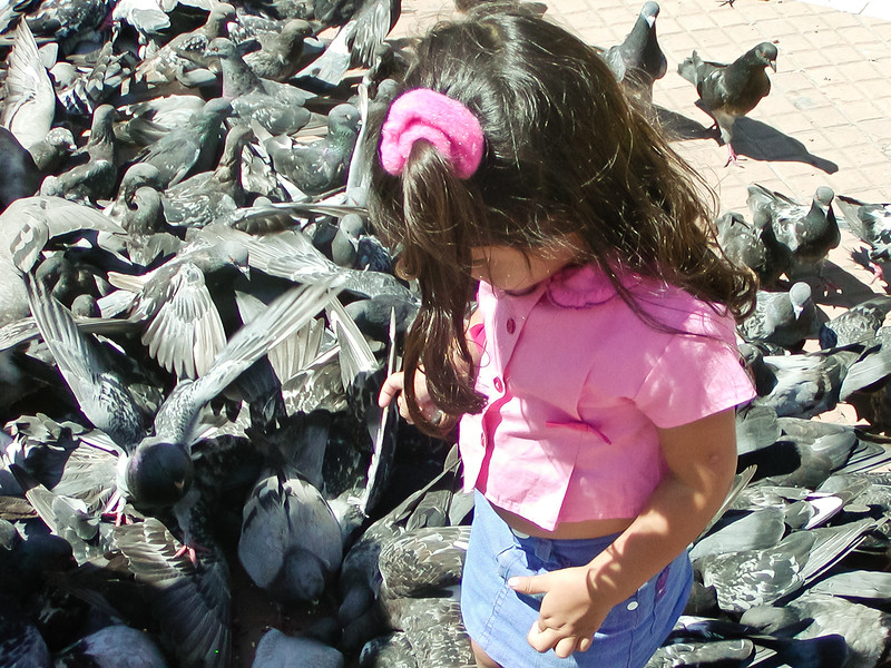 Girl with Pigeons, Independence Plaza, Buenos Aires, Argentina