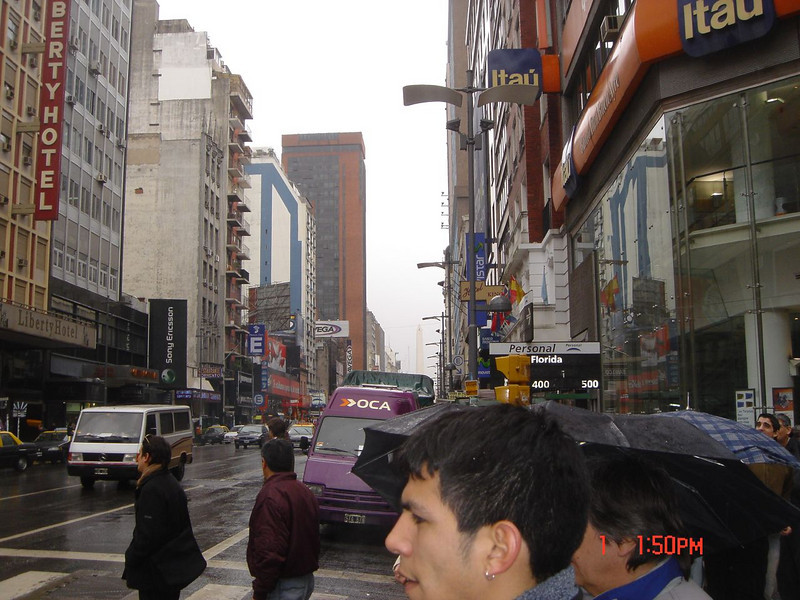 Street scene during rainy day in Argentina