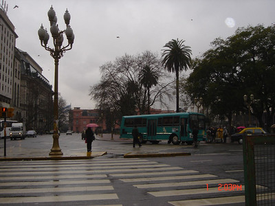 Street scene on a rainy day in Argentina