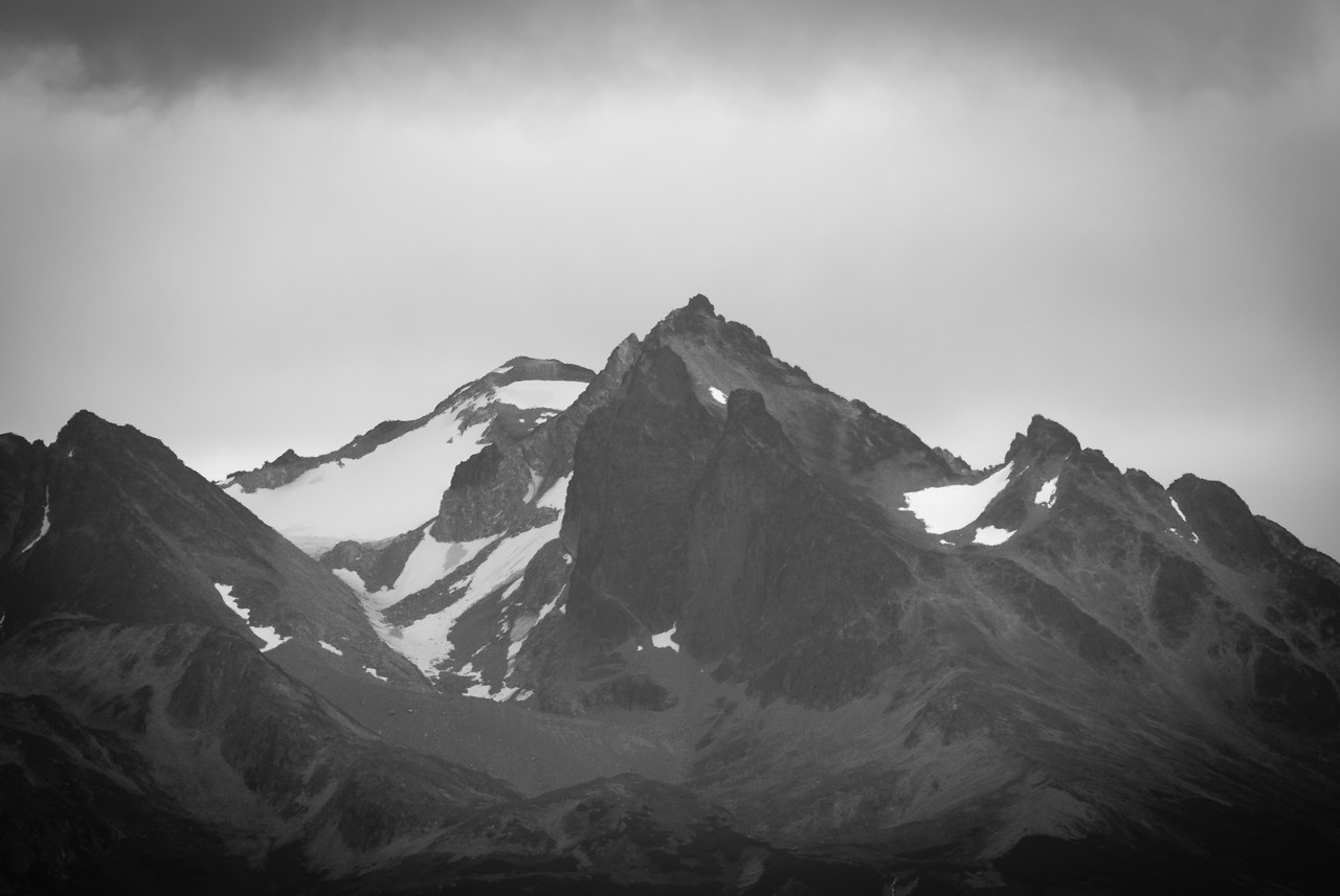Snow capped mountains near The Beagle Channel in Argentina
