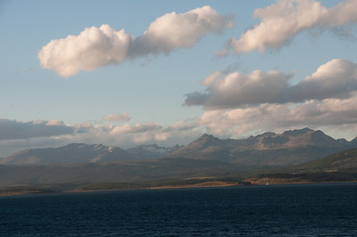 Aerial view of the Beagle Channel in Argentina