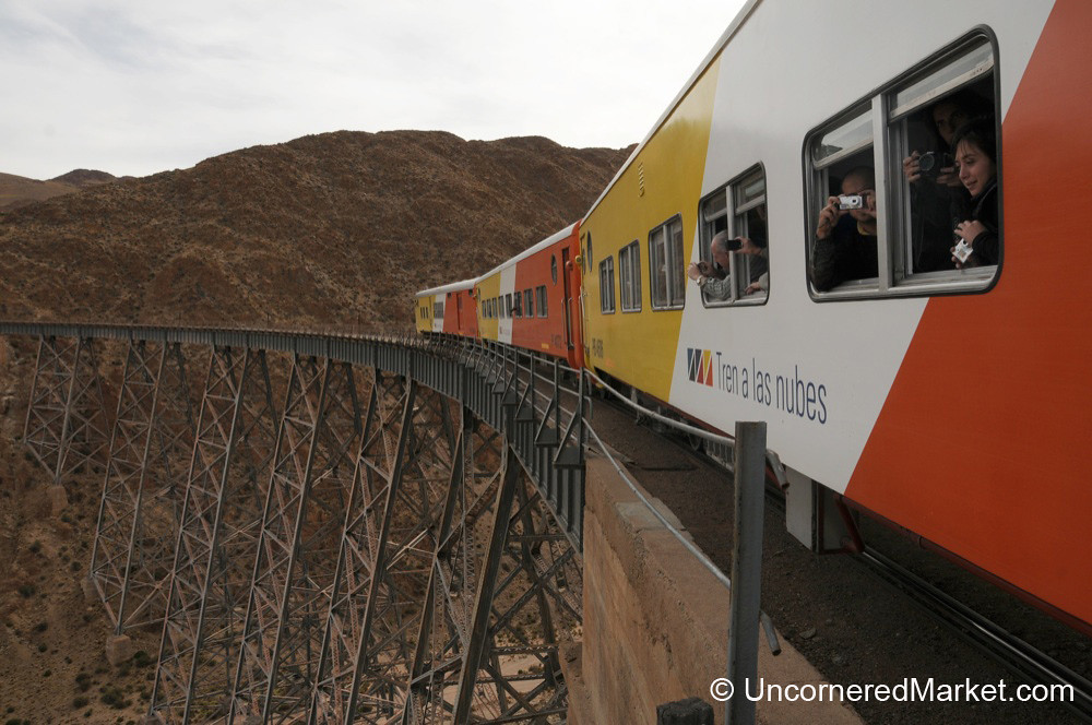 Train of the Clouds Goes on the Polvorilla Viaduct - Northwestern Argentina