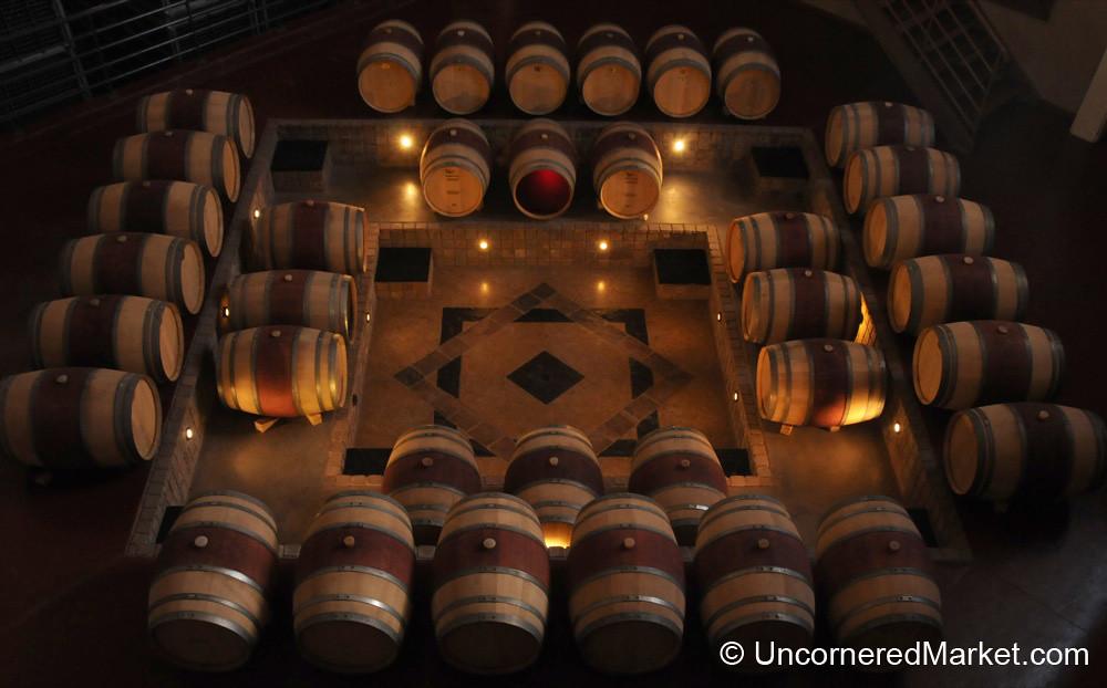 Oak Barrels at Bodega Familia Schroeder Outside Neuquen, Argentina