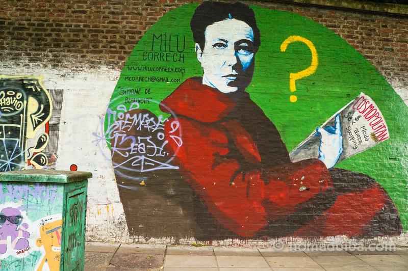Simone de Beauvoir mural by Milu Correch