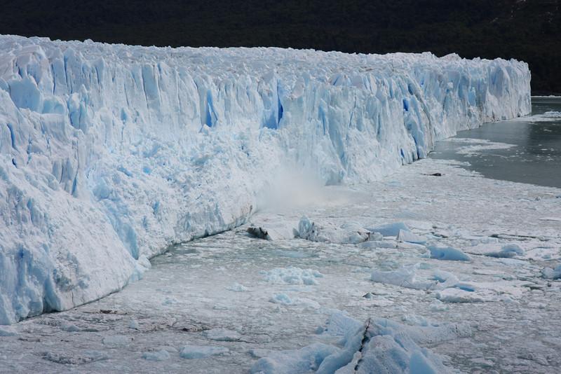 Perito Moreno Glacier with pieces of ice dropping down