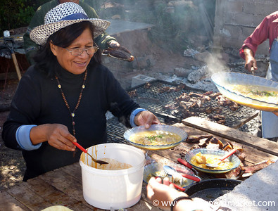 Serving Out Locro at a Village Gaucho Festival - Northern Argentina
