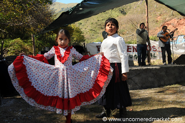 Kids Prepare to Dance in Gaucho Folklore Style - Outside Salta, Argentina
