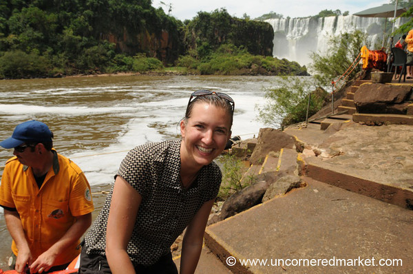 Audrey After the Boat - Iguazu Falls, Argentina