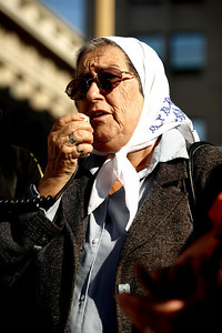 Hebe de Bonafini, one of the founding members of the Mothers of the Plaza de Mayo and President of the Mothers Association since 1979, leads a march in front of the Presidential Palace. (Panetta)