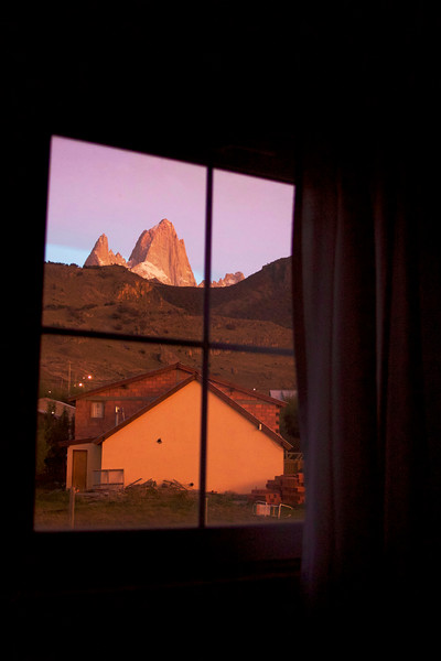 Top of Mount Fitz Roy at sunrise from our room window in El Chalten. April 2017