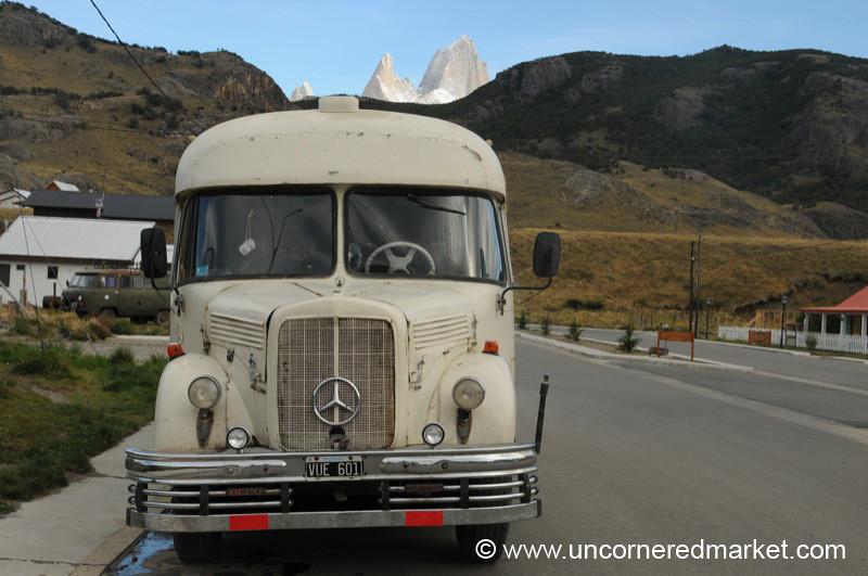 Old School Bus and Fitz Roy Peak - El Chalten, Argentina
