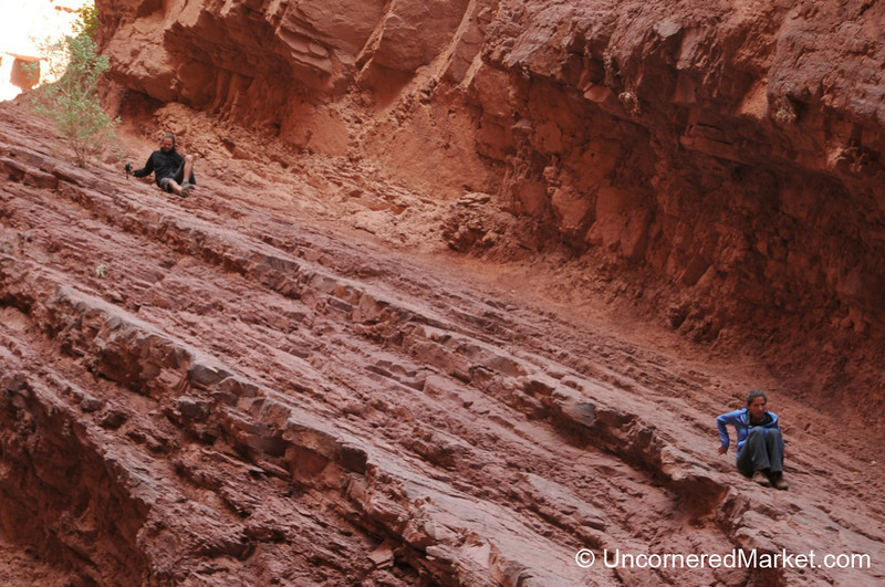 Jason and Aracely Sliding Down at the Devil's Throat - Northwestern Argentina