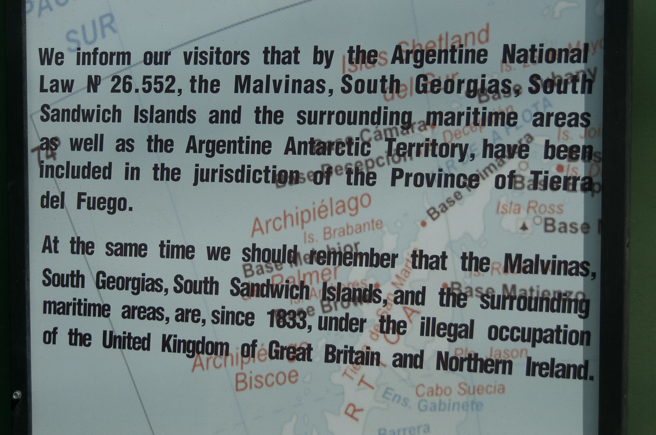 Monumental plaque in Ushuaia, Argentina