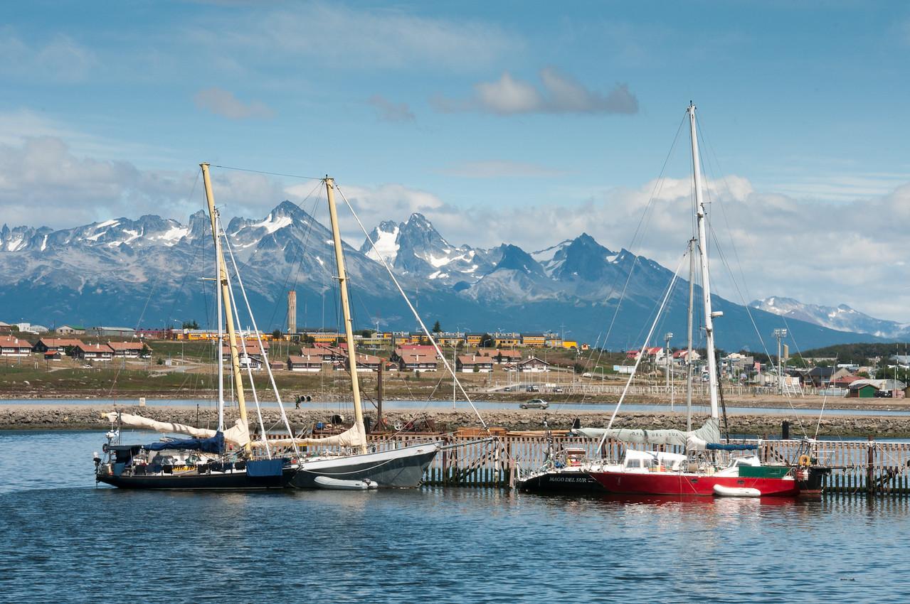 Boats in the harbor of Ushuaia, Argentina
