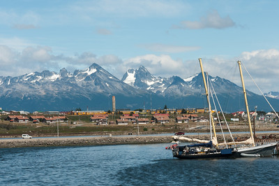 Snow capped mountains seen from harbor of Ushuaia, Argentina