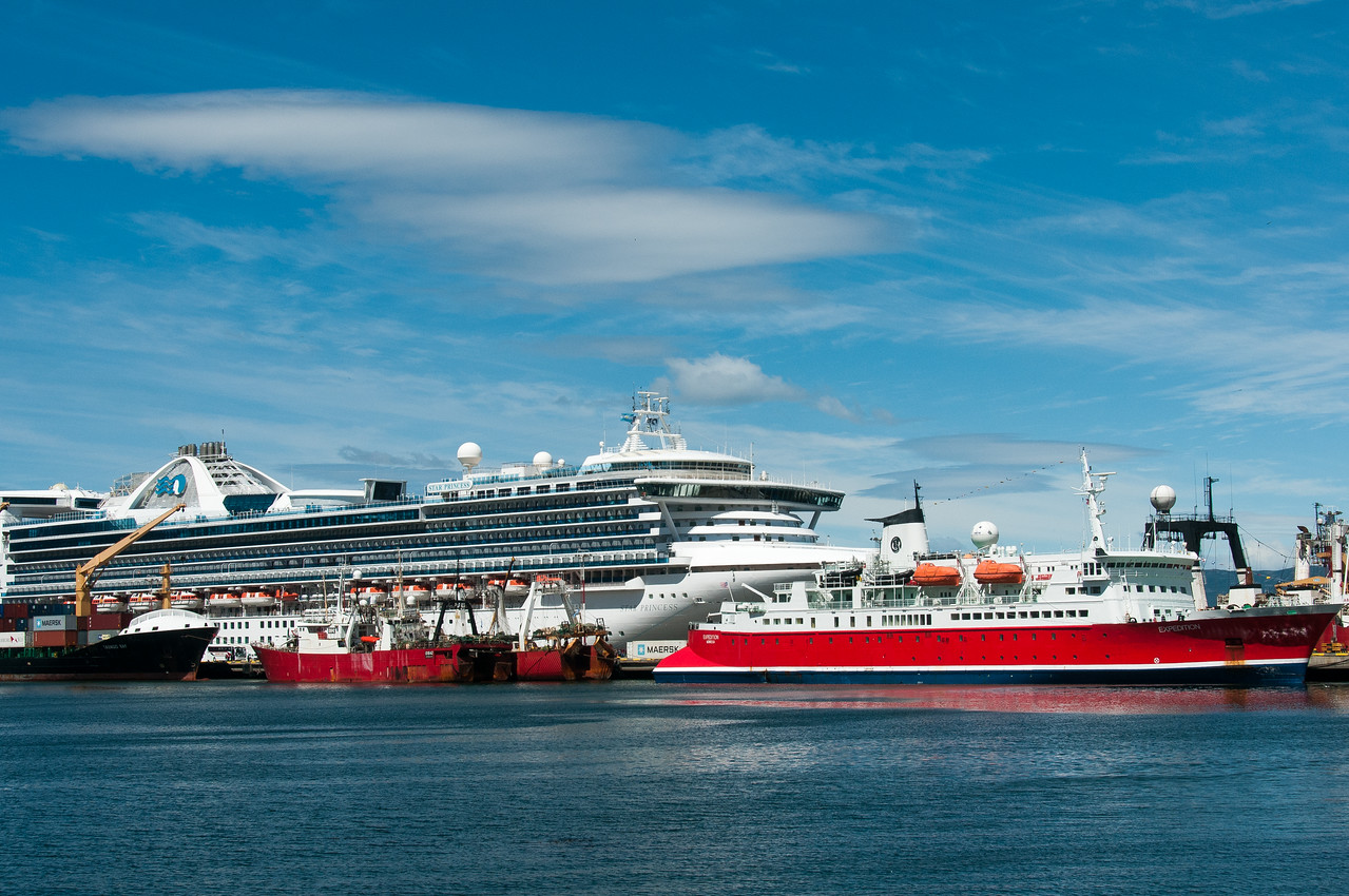 Cruise ships in Ushuaia in Argentina