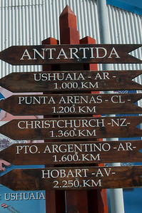 Mileage sign in Ushuaia, Argentina