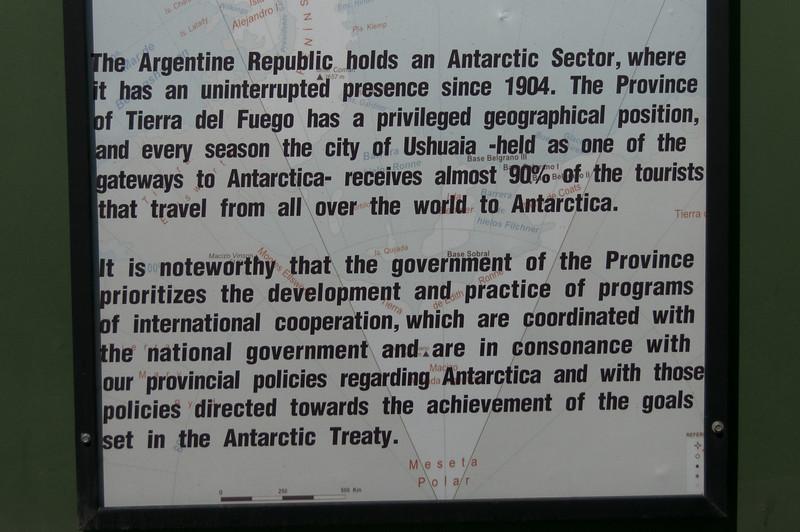 Monumental plaque in Ushuaia, Argentina