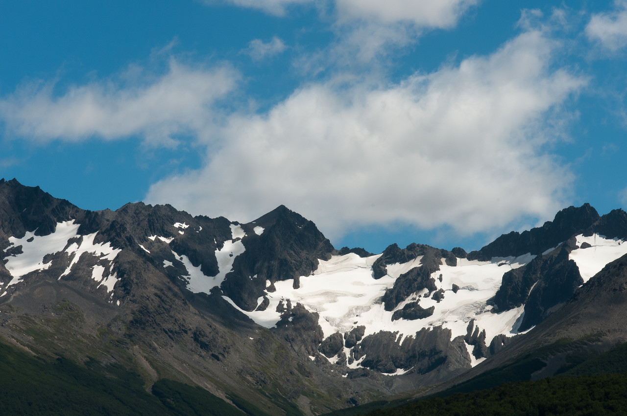 Snow capped mountains in Ushuaia, Argentina