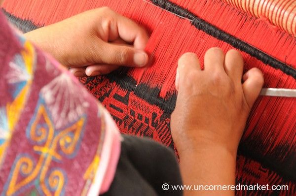 Close Up with Jalq'a Aqsu Weaving - Sucre, Bolivia