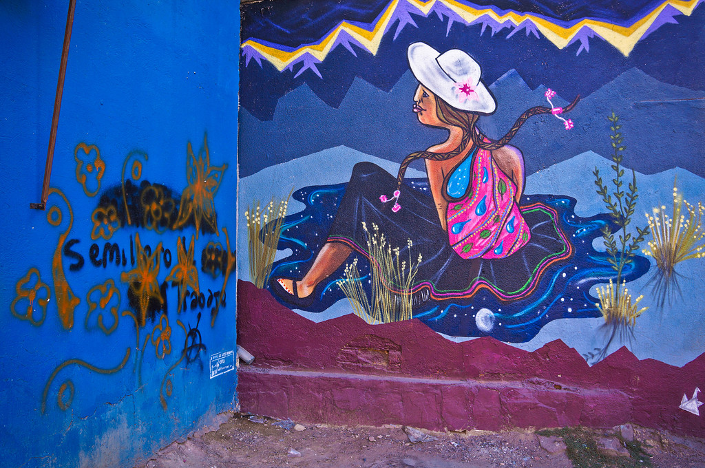 Mural by Salvador Jap'ichiy in Cochabamba, Bolivia