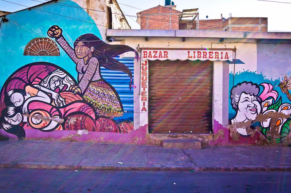 Mural by Brigada Negotropica & Charquipunk in Cochabamba, Bolivia