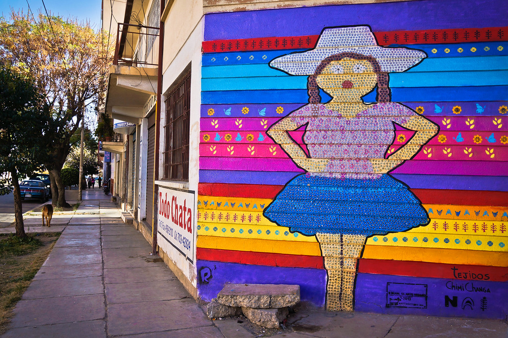 Mural by Chimichanga in Cochabamba, Bolivia