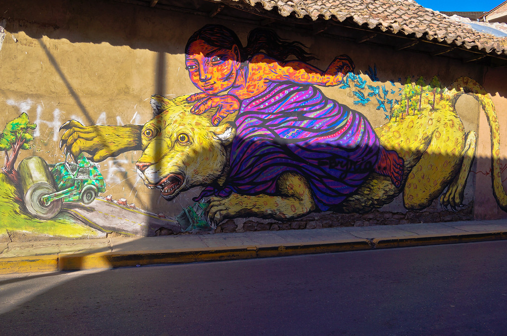 Mural by Bastardilla & Erica Ilcane in Cochabamba, Bolivia