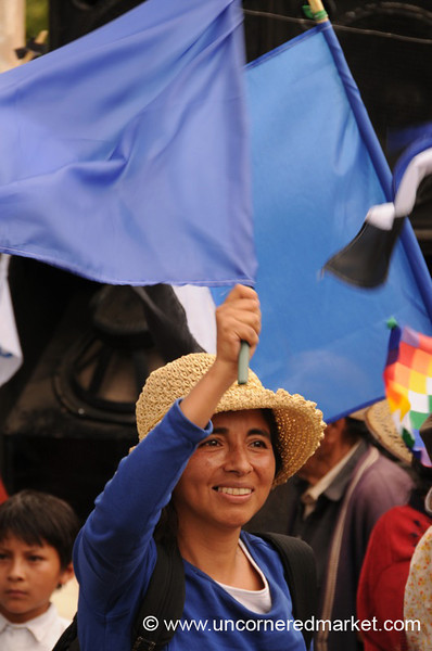 Proudly Waving the MAS Flag - Political Rally in Tupiza, Bolivia