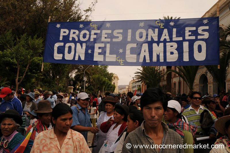 Professionals Support Change - Political Rally in Tupiza, Bolivia