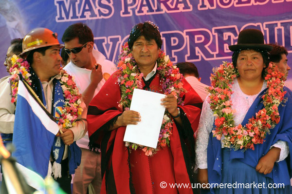 Evo Morales at a Rally in Tupiza, Bolivia
