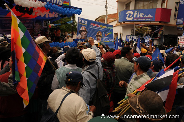 Growing Crowds - Political Rally in Tupiza, Bolivia