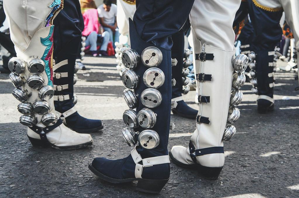 Caporales boots at the Entrada Universitaria in La Paz, Bolivia