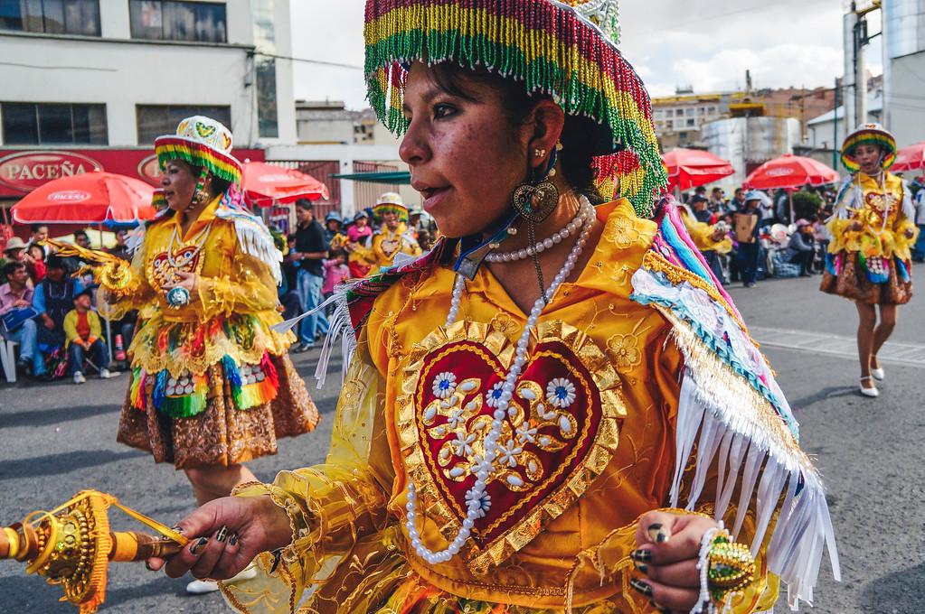 Kullawada dancers at the Entrada Universitaria in La Paz, Bolivia