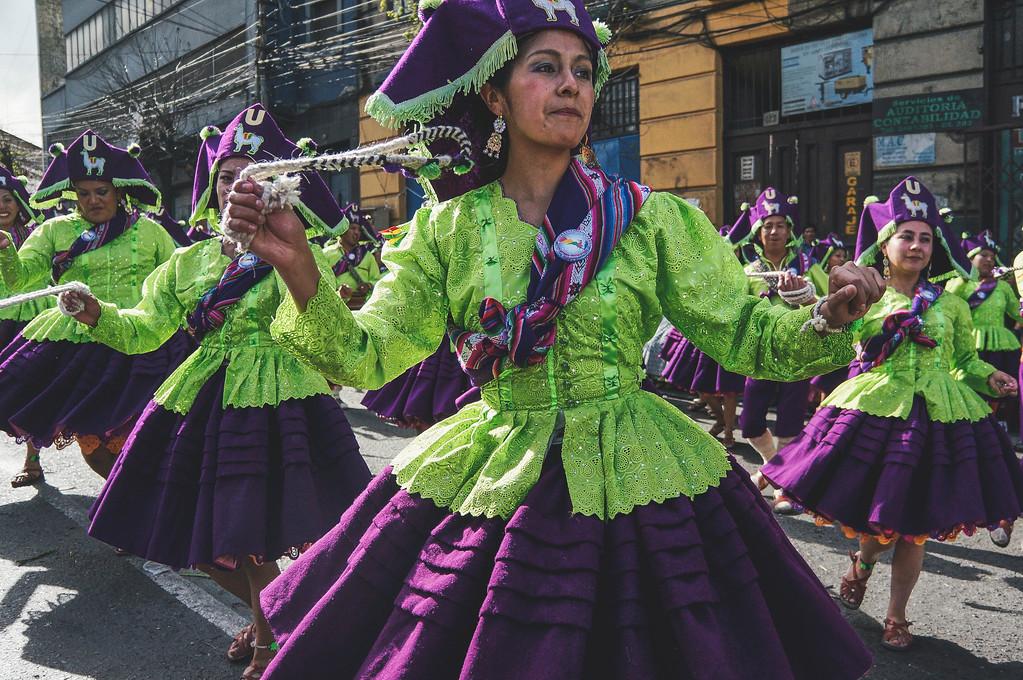 Llamerada dancers at the Entrada Universitaria in La Paz, Bolivia
