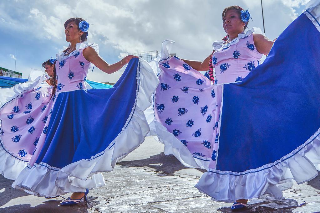 Chacarera dancers at the Entrada Universitaria in La Paz, Bolivia