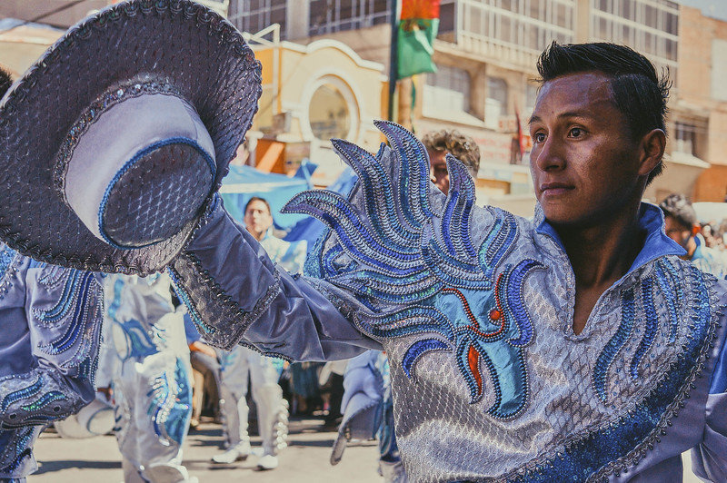 Caporales dancer at the Entrada Universitaria in La Paz, Bolivia