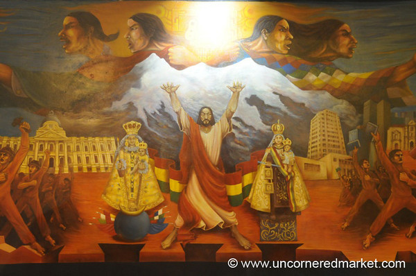 Mural - Religion and Royalty in La Paz, Bolivia
