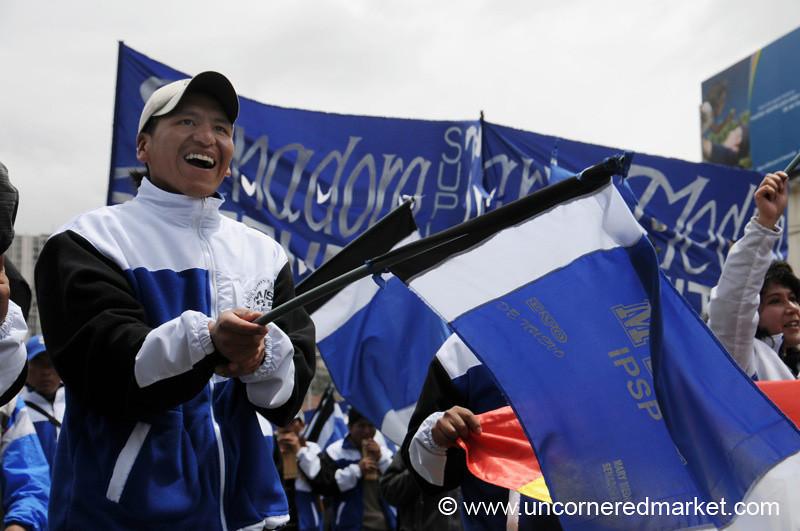 Cheering for Evo - La Paz, Bolivia
