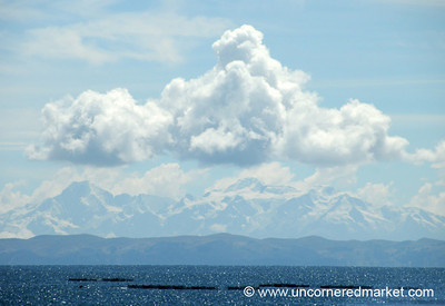 View of Cordillera Real from Lake Titicaca - Bolivia